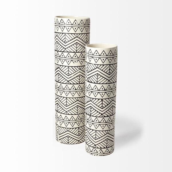 Uhura II Cream and Black Cylindrical Ceramic Vase, image 2