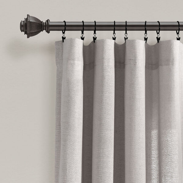 Linen Button Gray 40 x 95 In. Single Window Curtain Panel, image 2