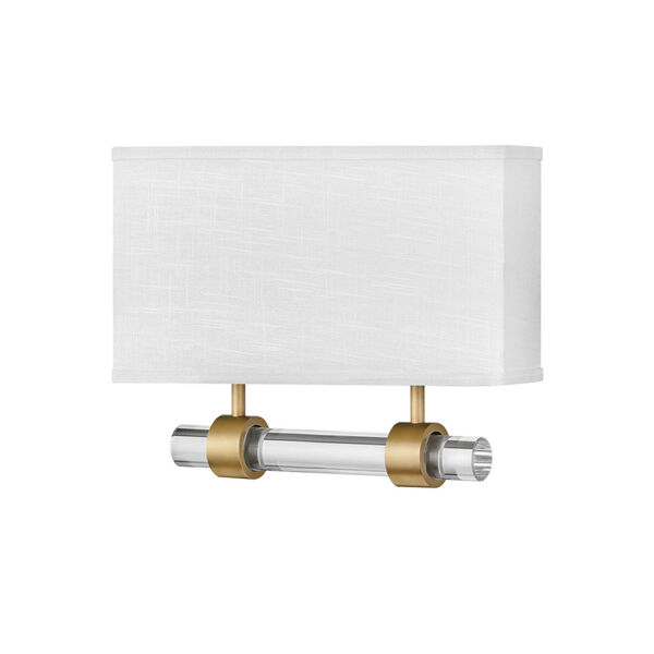 Luster Heritage Brass Two-Light LED Wall Sconce with Off White Linen Shade, image 1