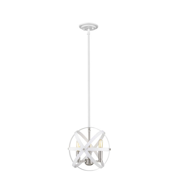 Cavallo Hammered White and Brushed Nickel Three-Light Chandelier, image 1