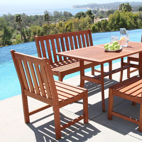 Malibu Eco-friendly Outdoor Hardwood Garden Armless Chair, image 3
