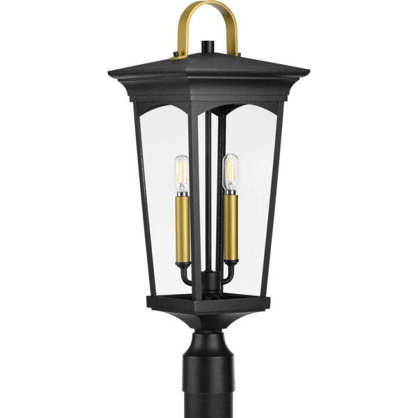 Chatsworth Textured Black Nine-Inch Two-Light Outdoor Post Mount with Clear Shade, image 1