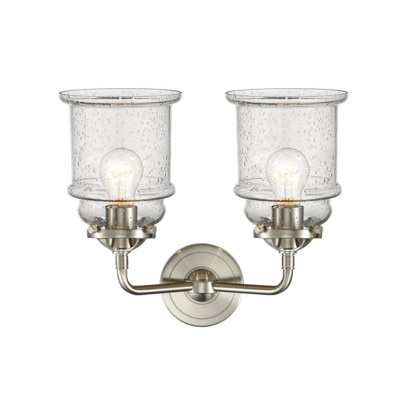 Nouveau Brushed Satin Nickel 14-Inch Two-Light LED Bath Vanity with Seedy Glass Shade, image 2