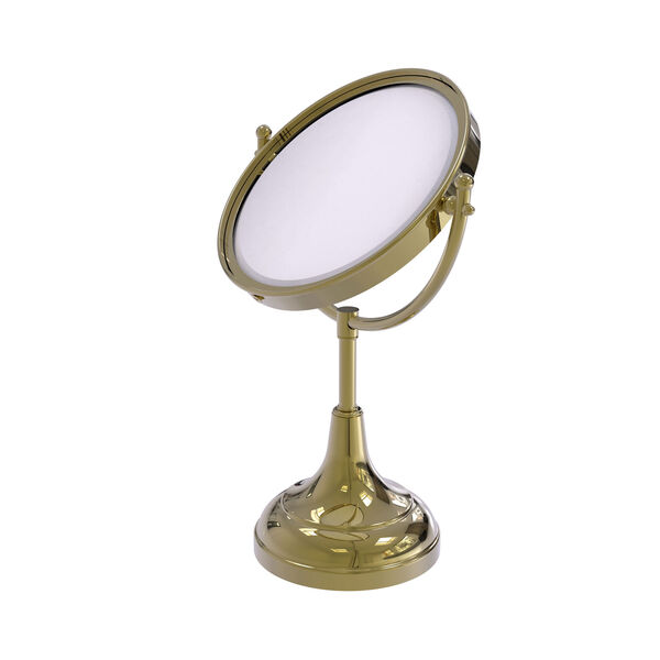 Unlacquered Brass Eight-Inch Vanity Top Make-Up Mirror 2X Magnification, image 1
