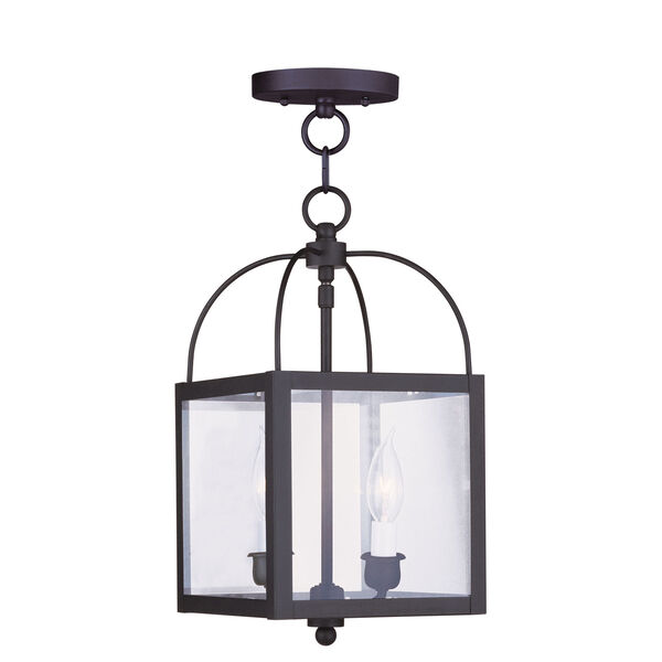 Milford Black Two-Light 15-Inch Convertible Pendant with Clear Glass, image 1