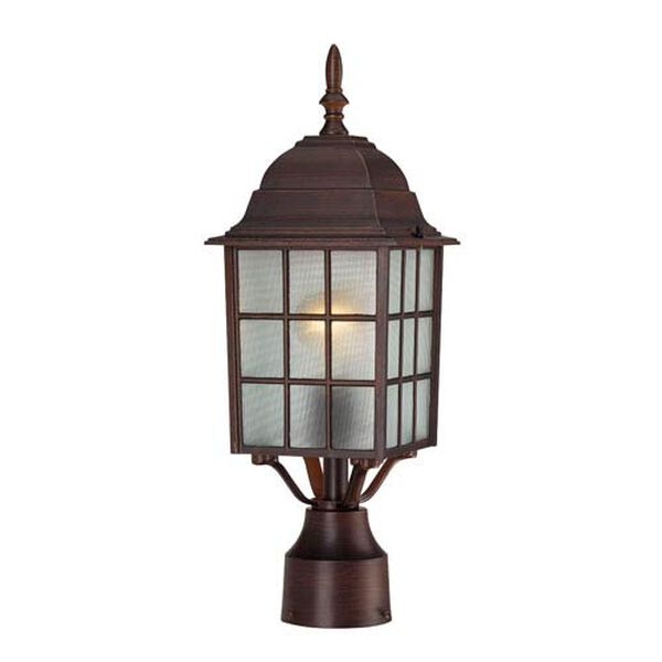 Adams Rustic Bronze Finish One Light Outdoor Post Mount with Frosted Glass, image 1