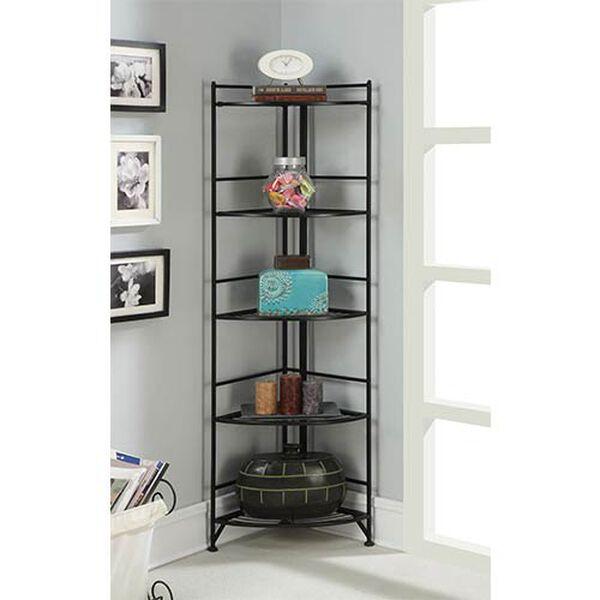 Designs2go Black Five-Tier Folding Metal Corner Shelf Media Tower, image 3