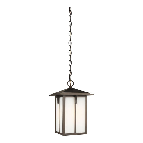 Tomek Antique Bronze One-Light Outdoor Pendant with Etched White Shade Energy Star, image 1