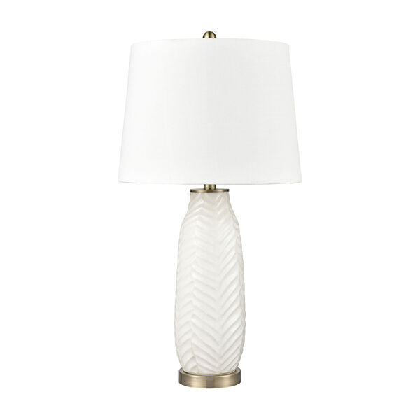 Bynum White and Antique Brass One-Light Table Lamp, image 2