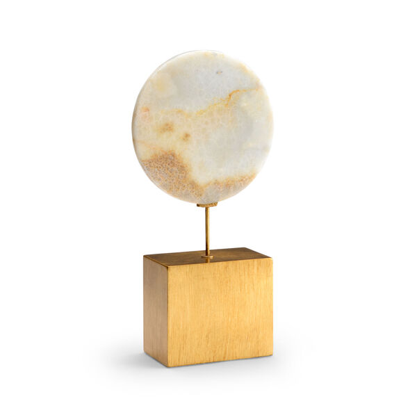 Natural White and Antique Gold Large Marble Disk, image 1