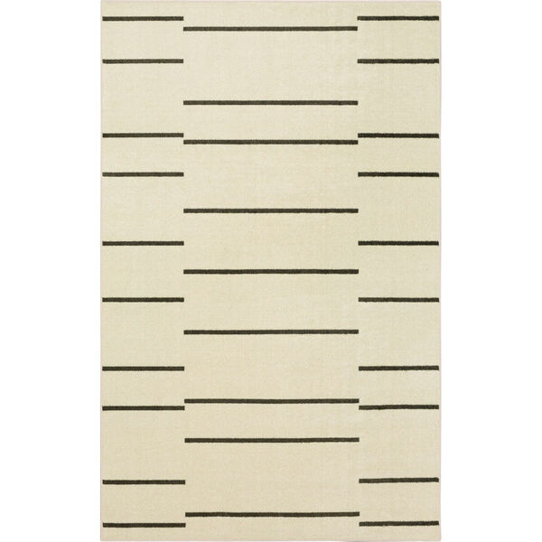 Kenza Ivory Linen Striped Rectangular: 2 Ft. x 3 Ft. Area Rug, image 1