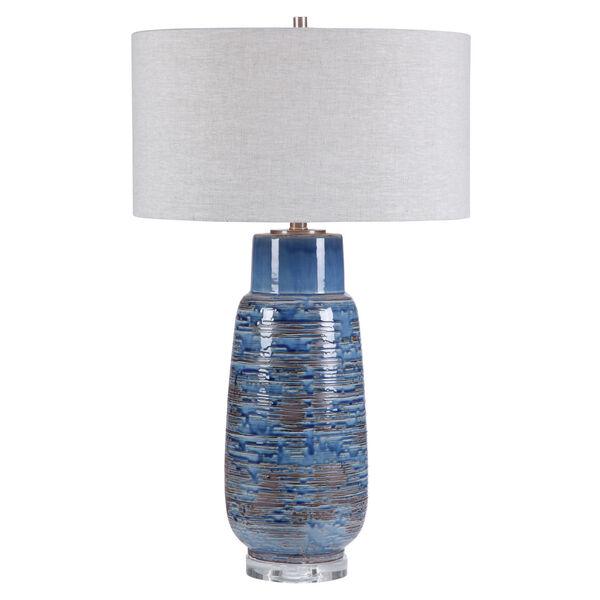 Magellan Brushed Nickel One-Light Table Lamp with Round Hardback Drum Shade, image 1