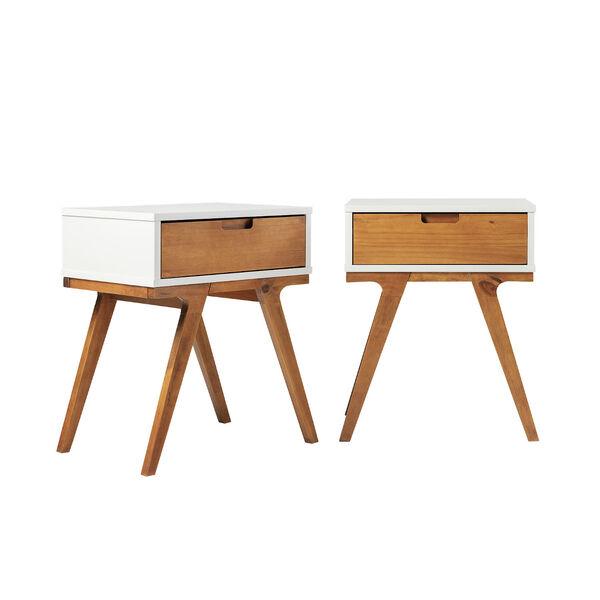 Mateo White and Caramel Beidge-Leg Side Table, Set of Two, image 2