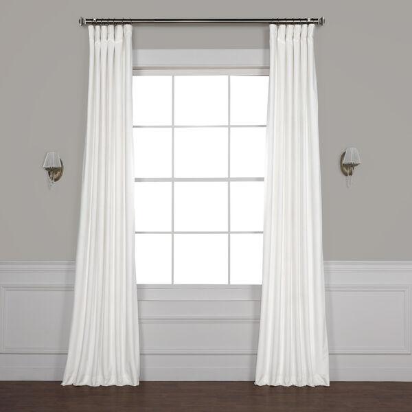 White 108 x 50 In. Plush Velvet Curtain Single Panel, image 1