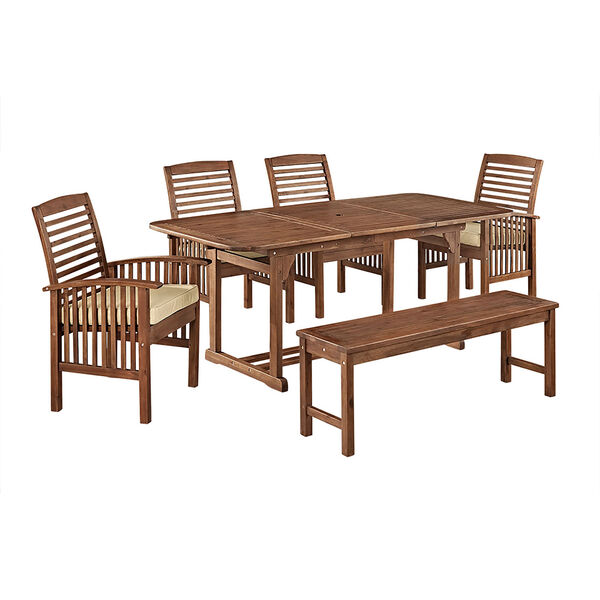 6-Piece Dark Brown Acacia Patio Dining Set with Cushions, image 5