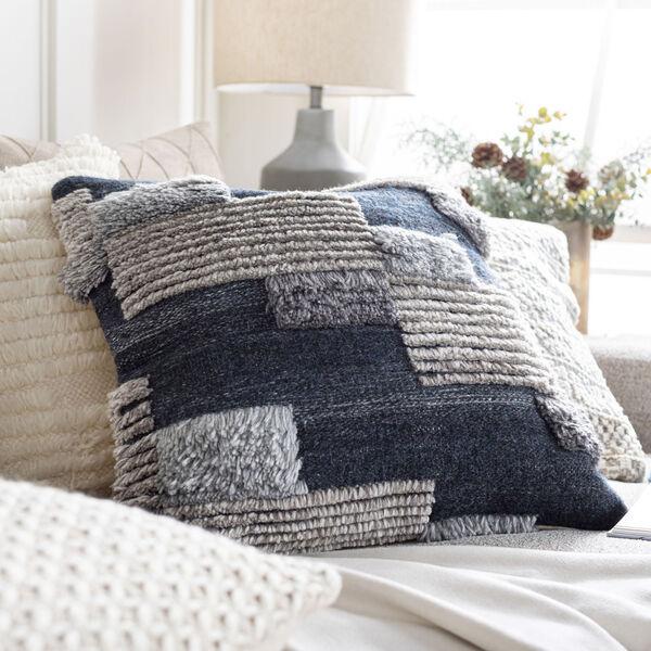 Baracoa Dark Blue and Medium Gray 22-Inch Pillow , image 2