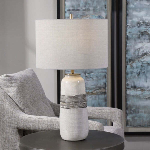 Comanche Off-White One-Light Crackle Table Lamp, image 2