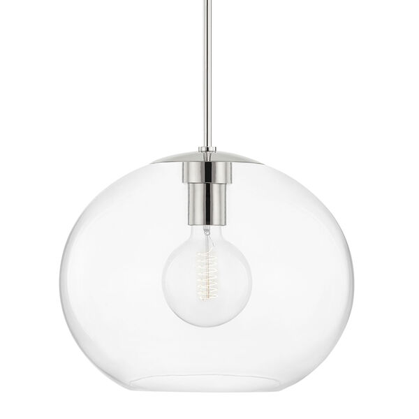 Margot Polished Nickel One-Light Extra Large Pendant with Clear Glass, image 1