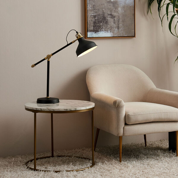Marmo Faux Marble and Brass Round Side Table with Faux Marble, image 2