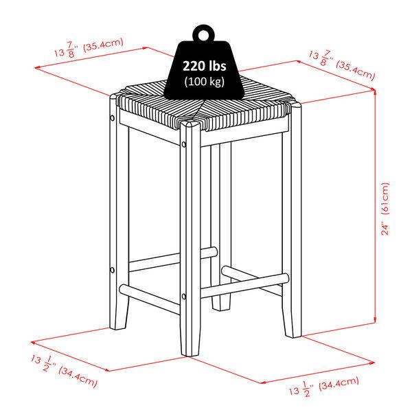 Kaden Walnut Rush Seat Counter Stool, Seat of 2, image 5