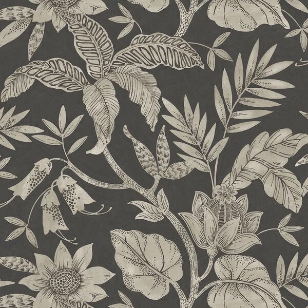 Boho Rhapsody Brushed Ebony and Stone Rainforest Leaves Unpasted Wallpaper, image 2