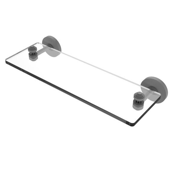 Southbeach Matte Gray 16-Inch Glass Vanity Shelf with Beveled Edges, image 1