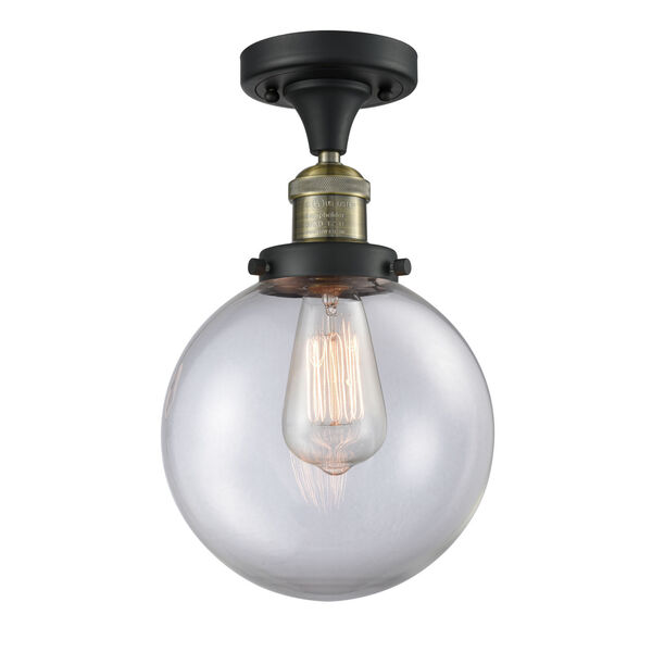 Franklin Restoration Black Antique Brass 13-Inch One-Light Semi-Flush Mount with Large Clear Beacon Shade, image 1