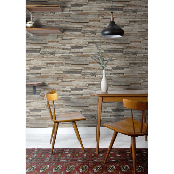 NextWall Brown Reclaimed Wood Plank Peel and Stick Wallpaper, image 5