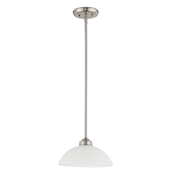 Somerset Brushed Nickel One-Light 11-Inch Pendant with Satin Glass, image 3