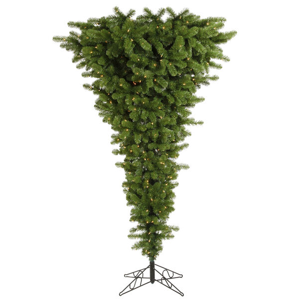 Green 7.5 Foot Upside Down LED Christmas Tree with 500 Warm White Lights, image 1