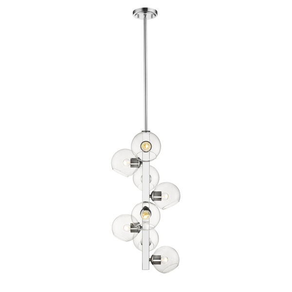 Marquee Chrome Eight-Light Pendant with Clear Glass, image 2
