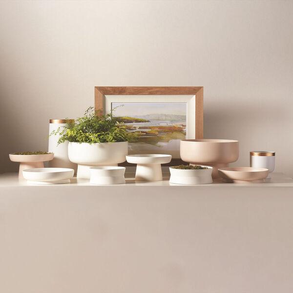 Studio A Home White Large Modern Gold Banded Vase, image 4