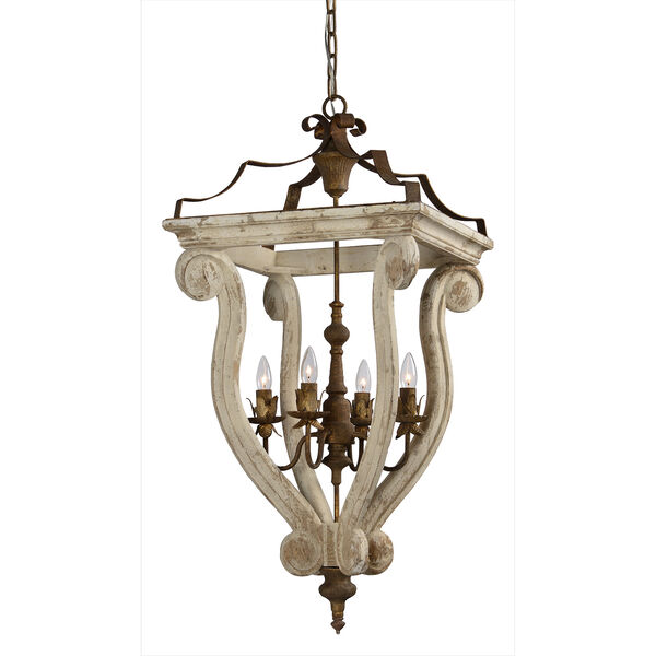 Abbey Cottage White 37-Inch Four-Light Chandelier, image 1