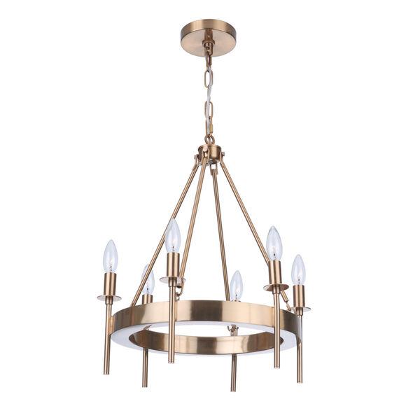 Larrson Satin Brass Six-Light Chandelier, image 2