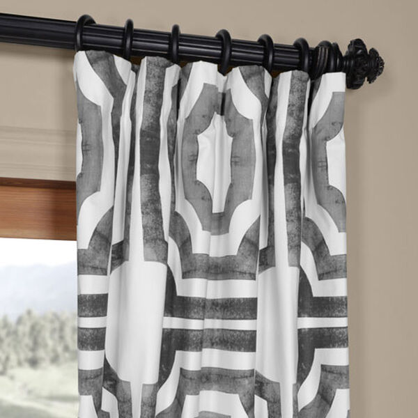 Shiny Steel 96 x 50 In. Printed Cotton Twill Curtain Single Panel, image 2