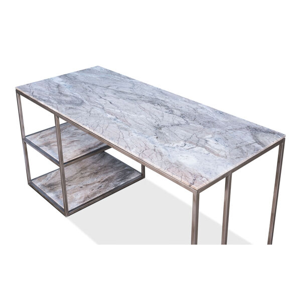 Silver Open Desk With Shelves, image 4
