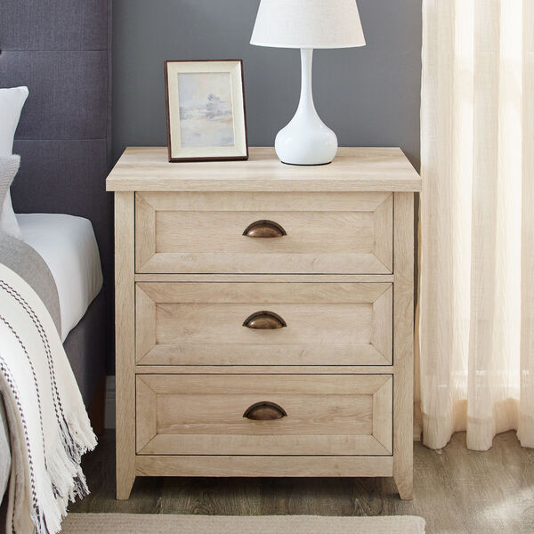 Odette White Oak Three-Drawer Nightstand, image 2