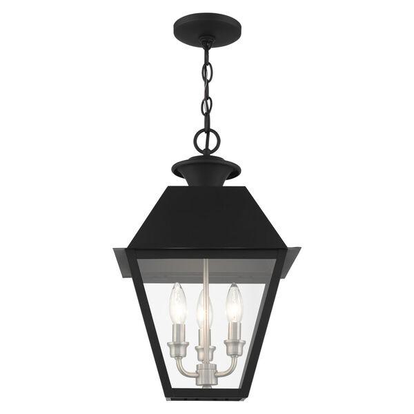 Mansfield Black Three-Light Outdoor Pendant Lantern, image 3