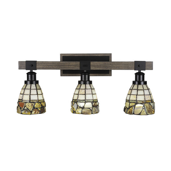 Tacoma Matte Black and Distressed Wood-lock Metal 26-Inch Three-Light Bath Light with Cobblestone Art Glass Shade, image 1