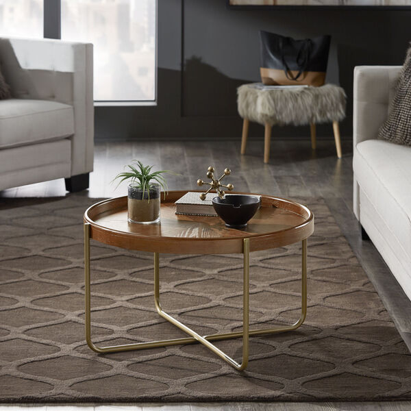 Adam Gold and Wood Coffee Table, image 5