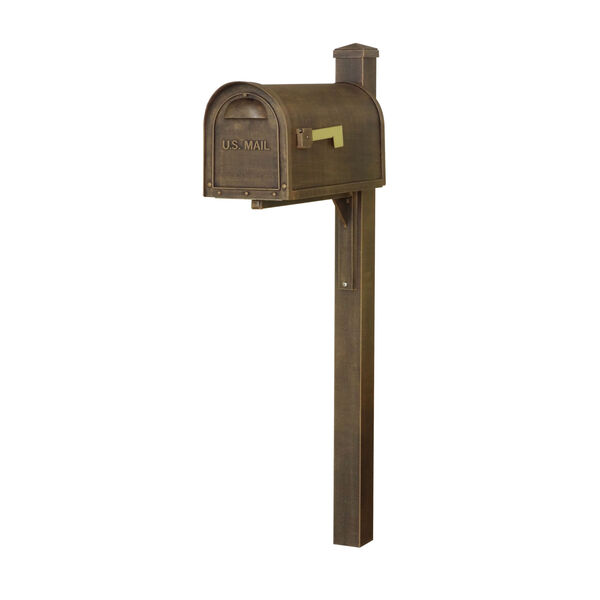 Classic Curbside Mailbox Copper Mailbox with Locking Insert and Wellington Direct Burial Mailbox Post Smooth, image 2