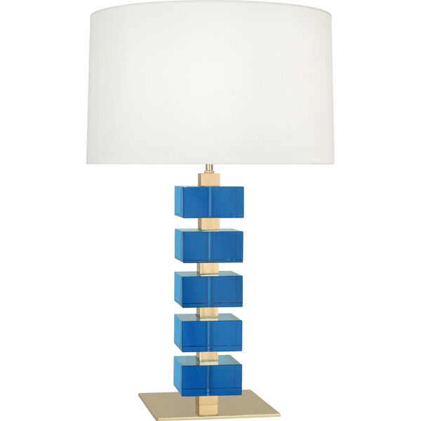 Jonathan Adler Monaco Lacquered Natural Brass One-Light Table Lamp With Off-White Silk Shade, image 1