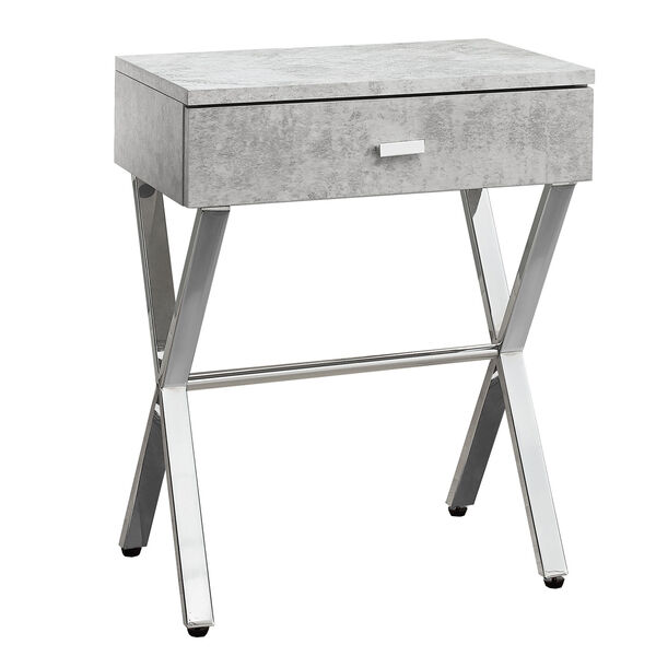 Accent Table - Grey Cement / Chrome Metal Night Stand, image 2