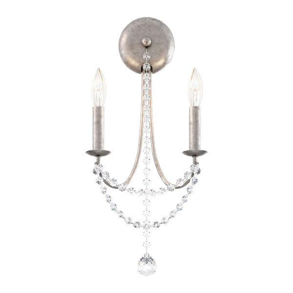 Verdana Antique Silver Two-Light Wall Sconce, image 1