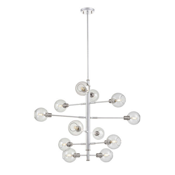 Ocean Drive Satin Nickel and Chrome Foyer Pendant with Clear Glass, image 1