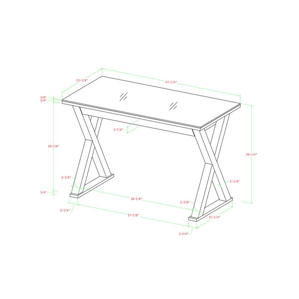 Home Office 48-inch White Glass Computer Desk, image 3