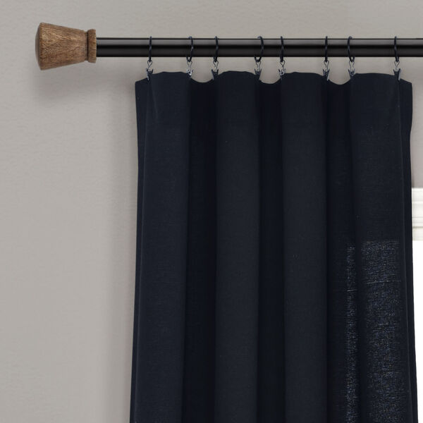 Linen Button Black and White 40 x 95 In. Single Window Curtain Panel, image 2
