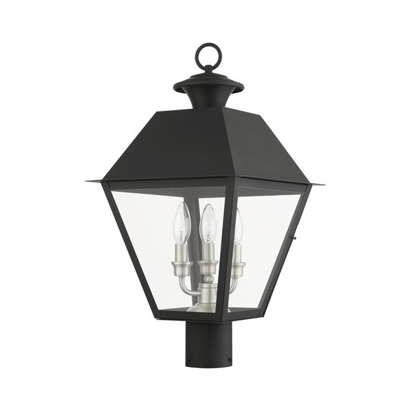 Mansfield Black Three-Light Outdoor Post Lantern, image 2