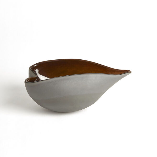 Frosted Gray and Amber 7-Inch Decorative Bowl, image 1