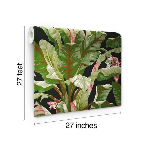 Ashford House Tropics Black and Green Banana Leaf Wallpaper, image 6